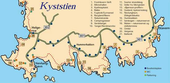 kart over stavern Visit Stavern  Kyststien kart over stavern